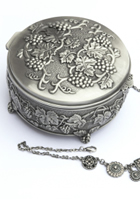 antique sliver box and chain